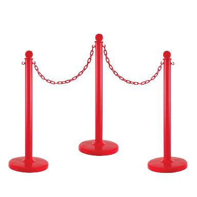"2.5"" Plastic Stanchion 6 Pack with Plastic Chain"