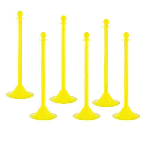 Pack of 6 - 2 Inch Plastic Crowd Control Stanchions